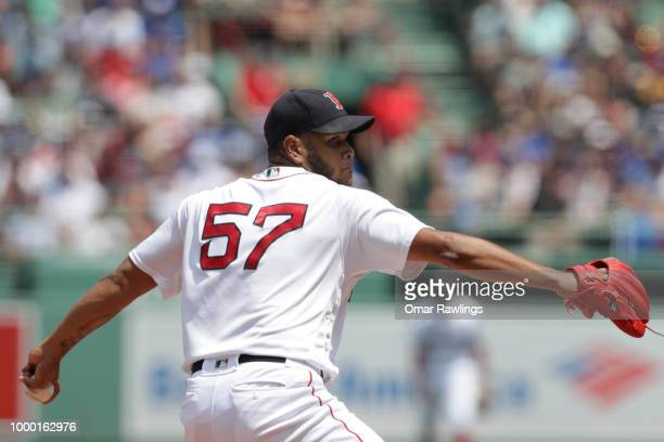 Eduardo Rodriguez of the Boston Red Sox pitches at the top of the of the second inning of the game against the Toronto Blue Jays at Fenway Park on...