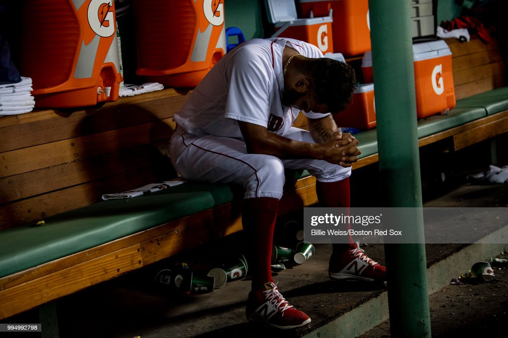 Eduardo Rodriguez #67 of the Boston Red Sox reacts after exiting the game during the sixth inning of a game against the Texas Rangers on July 9, 2018 at Fenway Park in Boston, Massachusetts.