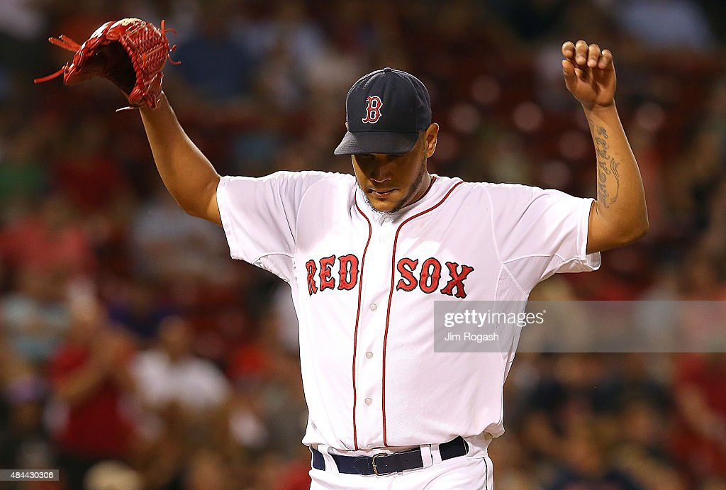 Eduardo Rodriguez #52 of the Boston Red Sox reacts after the third out of the eighth inning against the Cleveland Indians at Fenway Park on August 18, 2015 in Boston, Massachusetts.