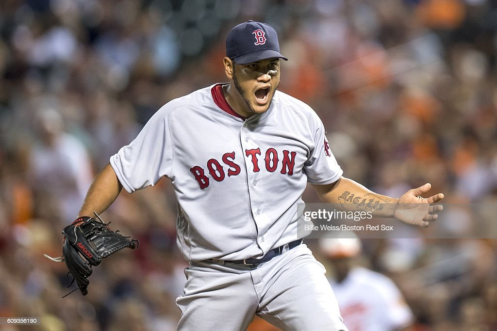 Eduardo Rodriguez #52 of the Boston Red Sox reacts during the seventh inning of a game against the Baltimore Orioles on September 20, 2016 at Oriole Park at Camden Yards in Baltimore, Maryland.