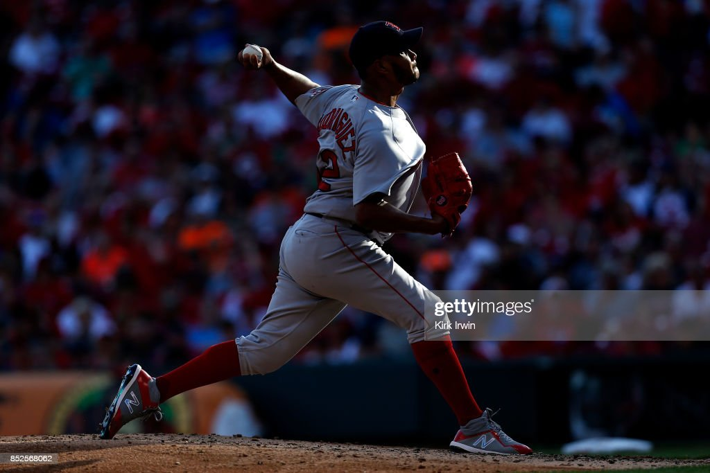 Eduardo Rodriguez #52 of the Boston Red Sox throws a pitch during the fifth inning of the game against the Cincinnati Reds at Great American Ball Park on September 23, 2017 in Cincinnati, Ohio. Boston defeated Cincinnati 5-0.