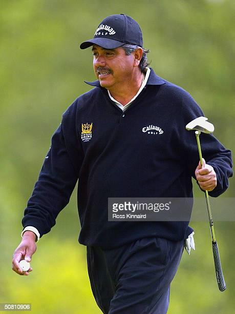 Eduardo Romero of Argentina after his putt on the par three 18th hole during the second round of the Daily Telegraph Damovo British Masters on the...