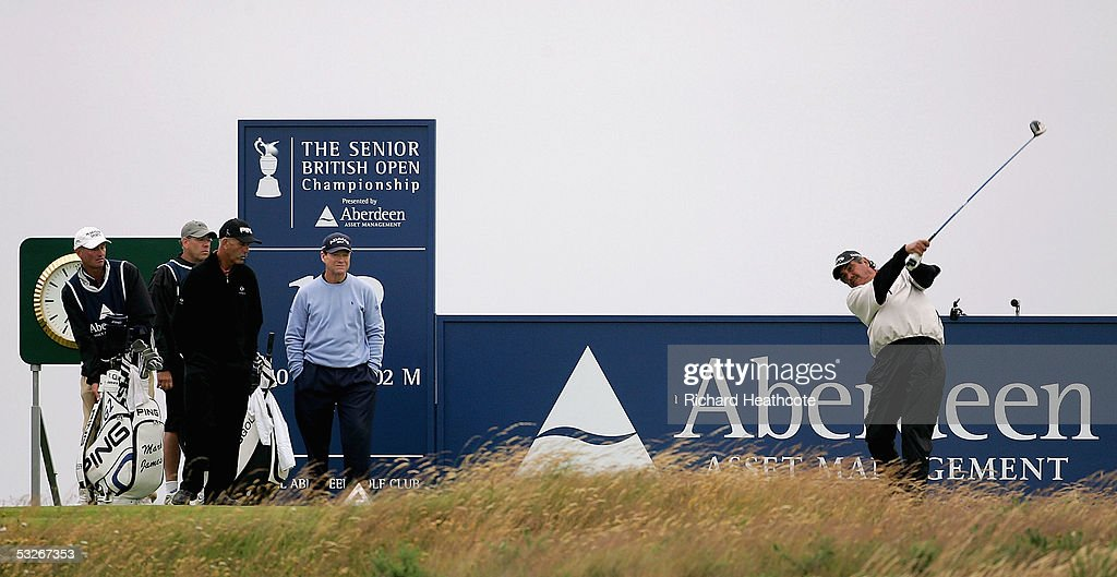 Eduardo Romero of Argentina tee's off from the 18th during Round 1 of the Senior British Open at Royal Aberdeen GC, July 21, 2005 in Aberdeen, Scotland.