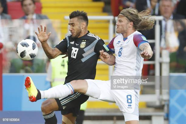 Eduardo Salvio of Argentina Birkir Bjarnason of Iceland during the 2018 FIFA World Cup Russia group D match between Argentina and Iceland at the...