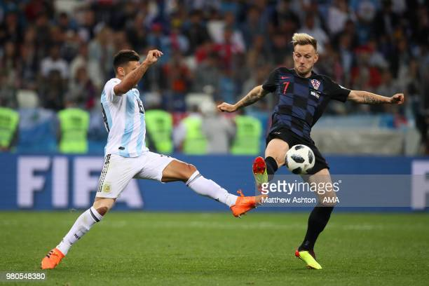 Eduardo Salvio of Argentina competes with Ivan Rakitic of Croatia during the 2018 FIFA World Cup Russia group D match between Argentina and Croatia...