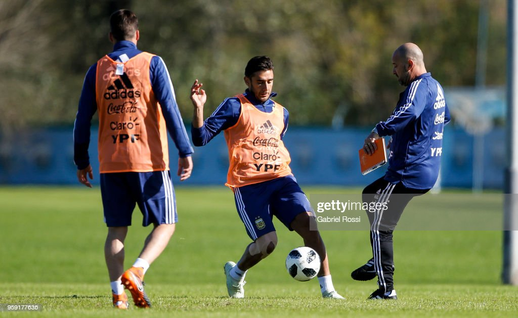 Eduardo Salvio of Argentina conducts the ball during a traning session as part of the preparation for the FIFA World Cup Russia at Julio Humberto Grondona Training Camp on May 16, 2018 in Ezeiza, Buenos Aires, Argentina.