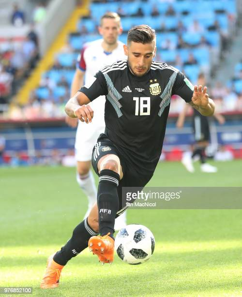 Eduardo Salvio of Argentina controls the ball during the 2018 FIFA World Cup Russia group D match between Argentina and Iceland at Spartak Stadium on...