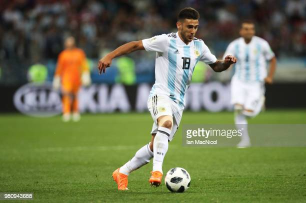 Eduardo Salvio of Argentina controls the ball during the 2018 FIFA World Cup Russia group D match between Argentina and Croatia at Nizhny Novgorod...