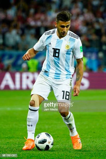 Eduardo Salvio of Argentina controls the ball during the 2018 FIFA World Cup Russia group D match between Argentina and Croatia at Nizhniy Novgorod...