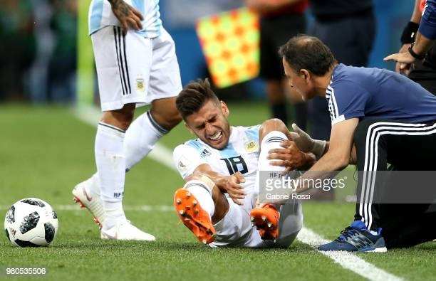 Eduardo Salvio of Argentina goes down injured during the 2018 FIFA World Cup Russia group D match between Argentina and Croatia at Nizhny Novgorod...