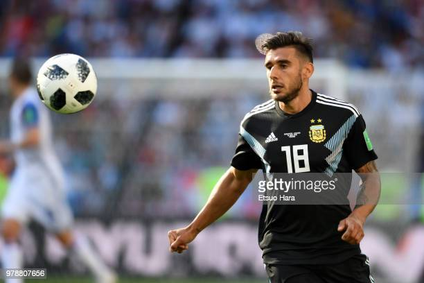 Eduardo Salvio of Argentina in action during the 2018 FIFA World Cup Russia group D match between Argentina and Iceland at Spartak Stadium on June 16...