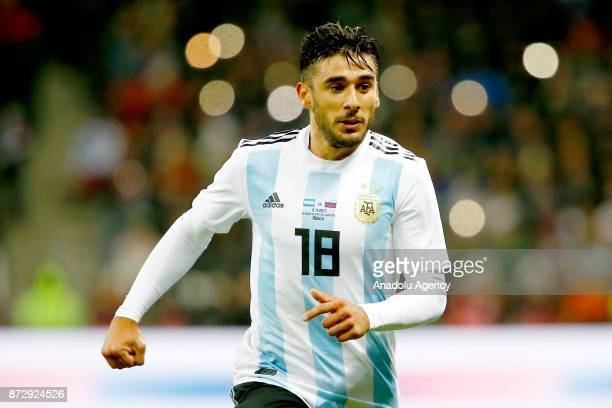 Eduardo Salvio of Argentina in action during the international friendly match between Russia and Argentina at BSA OC 'Luzhniki' Stadium in Moscow...