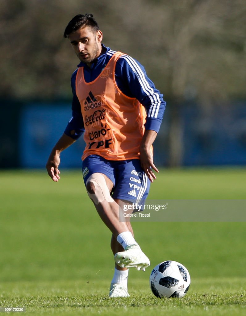 Eduardo Salvio of Argentina kicks the ball during a traning session as part of the preparation for the FIFA World Cup Russia at Julio Humberto Grondona Training Camp on May 16, 2018 in Ezeiza, Buenos Aires, Argentina.