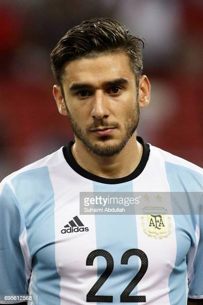 Eduardo Salvio of Argentina lines up on the pitch during the International Test match between Argentina and Singapore at National Stadium on June 13...