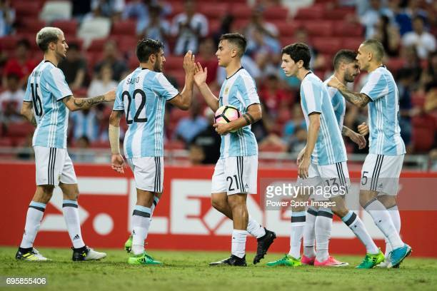 Eduardo Salvio of Argentina Paulo Dybala of Argentina of Argentina squad celebrate a score during the International Test match between Argentina and...