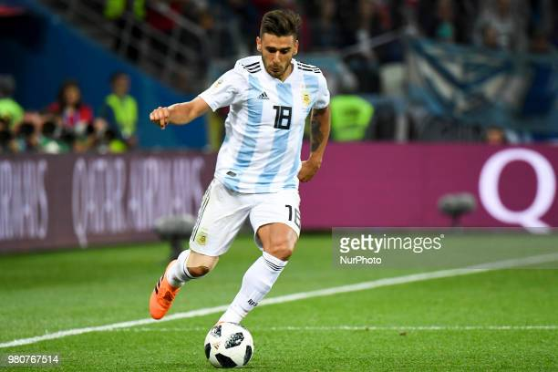 Eduardo Salvio of Argentina pictured in action during the FIFA World Cup Group D match between Argentina and Croatia at Nizhny Novogorod Stadium in...