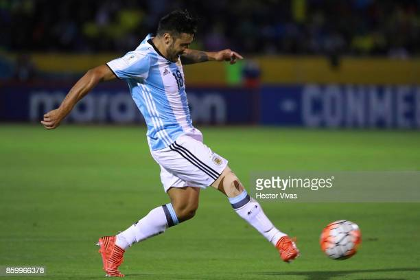 Eduardo Salvio of Argentina plays the ball during a match between Ecuador and Argentina as part of FIFA 2018 World Cup Qualifiers at Olimpico...