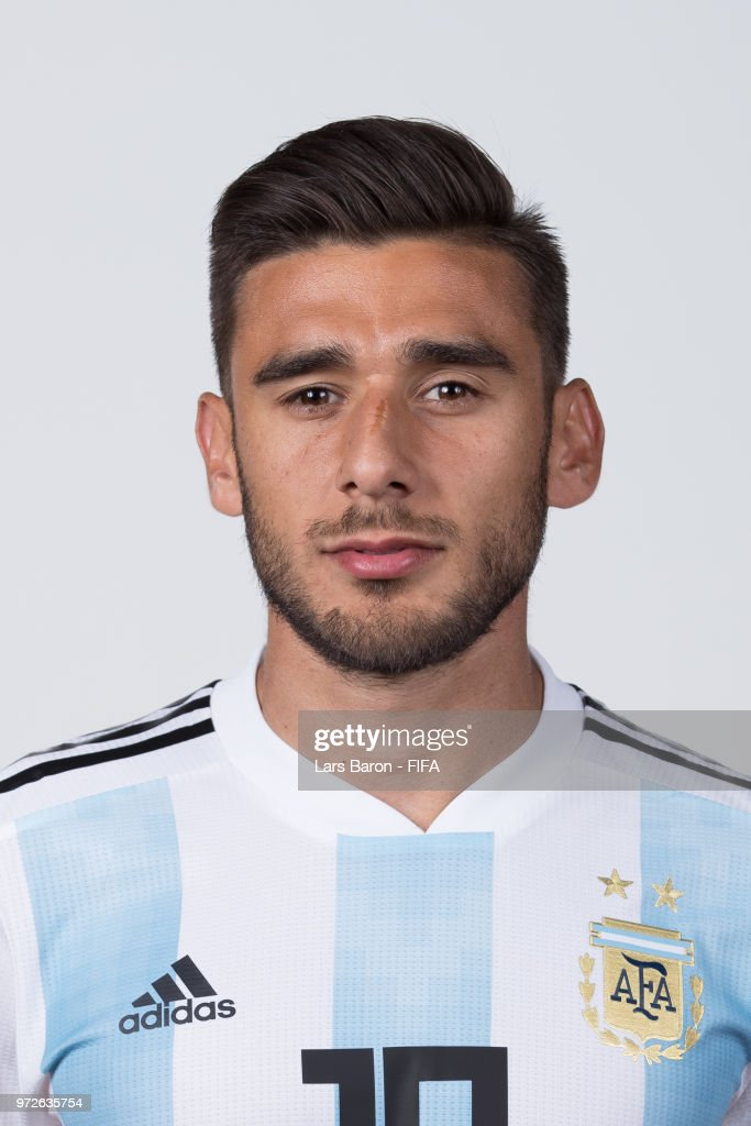 Eduardo Salvio of Argentina poses for a portrait during the official FIFA World Cup 2018 portrait session on June 12, 2018 in Moscow, Russia.
