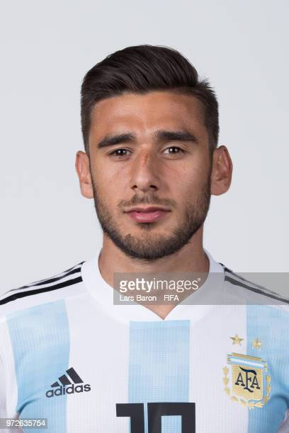 Eduardo Salvio of Argentina poses for a portrait during the official FIFA World Cup 2018 portrait session on June 12 2018 in Moscow Russia