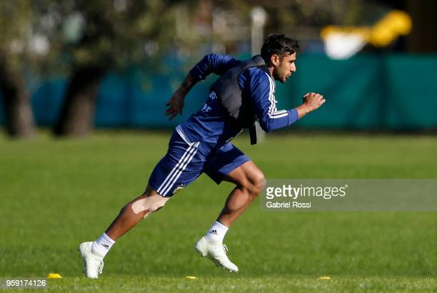 Eduardo Salvio of Argentina runs during a traning session as part of the preparation for the FIFA World Cup Russia at Julio Humberto Grondona...