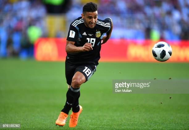 Eduardo Salvio of Argentina runs off the ball during the 2018 FIFA World Cup Russia group D match between Argentina and Iceland at Spartak Stadium on...