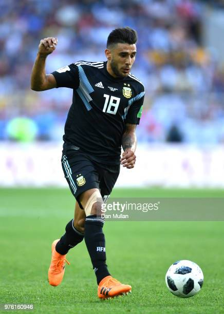 Eduardo Salvio of Argentina runs with the ball during the 2018 FIFA World Cup Russia group D match between Argentina and Iceland at Spartak Stadium...