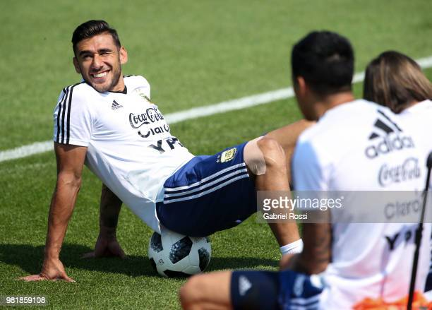 Eduardo Salvio of Argentina smiles during a training session at Stadium of Syroyezhkin sports school on June 23 2018 in Bronnitsy Russia