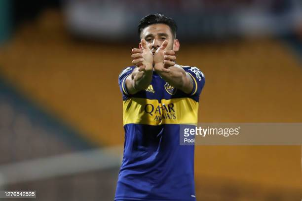Eduardo Salvio of Boca Juniors celebrates after scoring his team's first goal during a group H match of Copa CONMEBOL Libertadores 2020 between...
