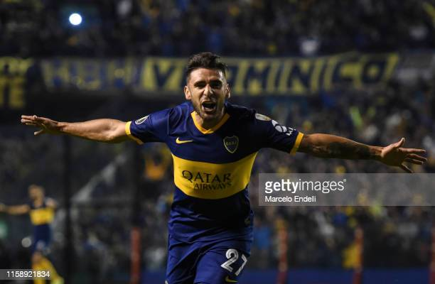 Eduardo Salvio of Boca Juniors celebrates after scoring the second goal of his team during a round of sixteen second leg match between Boca Juniors...