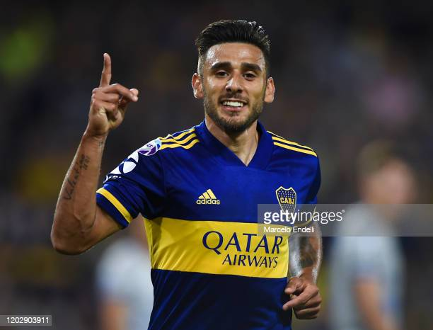 Eduardo Salvio of Boca Juniors celebrates after scoring the second goal of his team during a match between Boca Juniors and Godoy Cruz as part of...