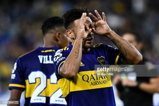 Eduardo Salvio of Boca Juniors celebrates after scoring the third goal of his team during a match between Boca Juniors and Godoy Cruz as part of...