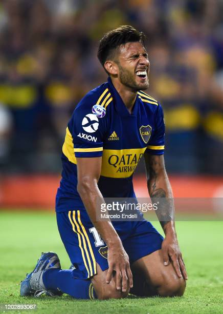 Eduardo Salvio of Boca Juniors reacts during a match between Boca Juniors and Godoy Cruz as part of Superliga 2019/20 at Alberto J. Armando Stadium...