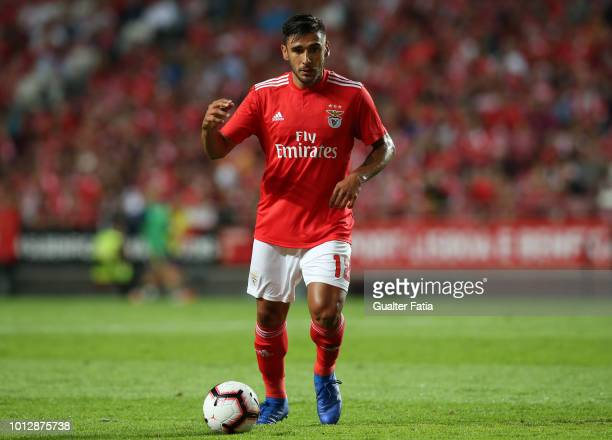 Eduardo Salvio of SL Benfica in action during the UEFA Champions League Qualifier match between SL Benfica and Fenerbache at Estadio da Luz on August...