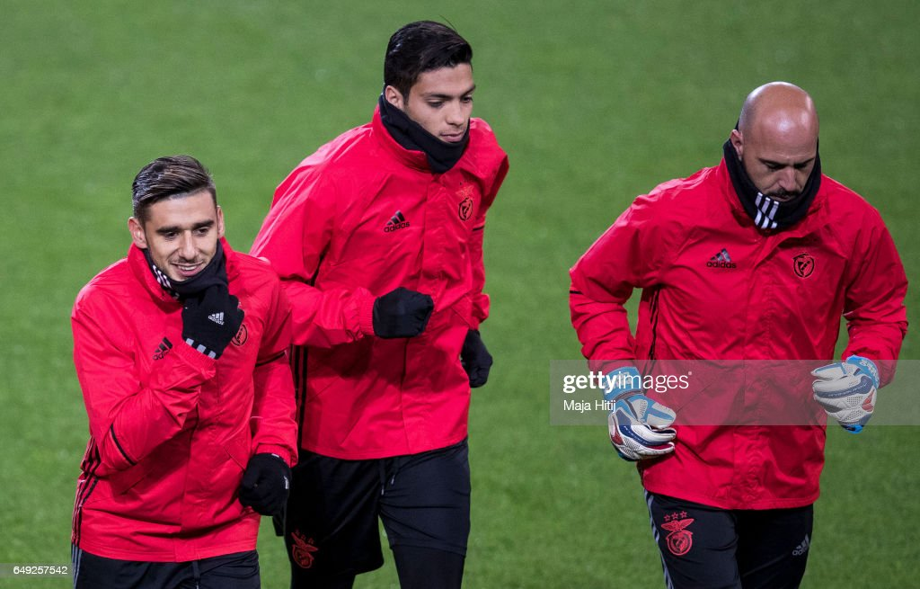 Eduardo Salvio (L-R), Raul Jimenez and Paulo Lopes of Benfica warm up during the training prior the UEFA Champions League Round of 16 second leg match between Borussia Dortmund and SL Benfica at Signal Iduna Park on March 7, 2017 in Dortmund, Germany.