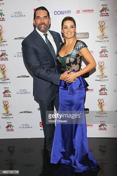 Eduardo Santamarina and Mayrin Villanueva arrive at Premios TV y Novelas 2015 at Televisa San Angel on March 9 2015 in Mexico City Mexico
