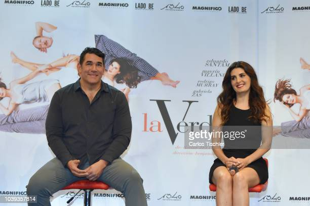 Eduardo Santamarina and Mayrin Villanueva smile during a press conference to promote the theater play 'La Verdad' at Xola Theather on September 17...