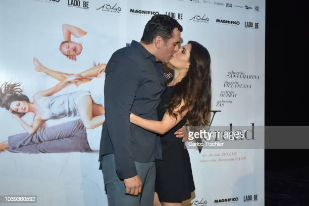 Eduardo Santamarina kisses Mayrin Villanueva during a press conference to promote the theater play 'La Verdad' at Xola Theather on September 17 2018...
