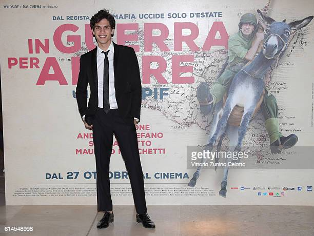 Eduardo Valdarnini walks a red carpet for 'In Guerra Per Amore' on October 12 2016 in Rome Italy