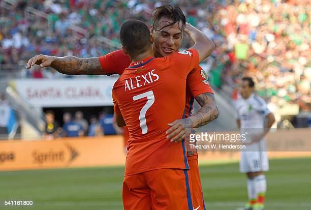Eduardo Vargas and Alexis Sanchez of Chile celebrate after Vargas scored a goal against Mexico during the 2016 Copa America Centenario Quarterfinals...
