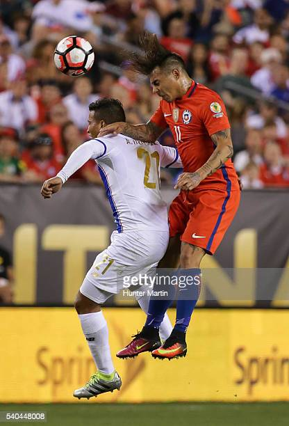 Eduardo Vargas of Chile and Amilcar Henriquez of Panama compete for the ball during a group D match between Chile and Panama at Lincoln Financial...