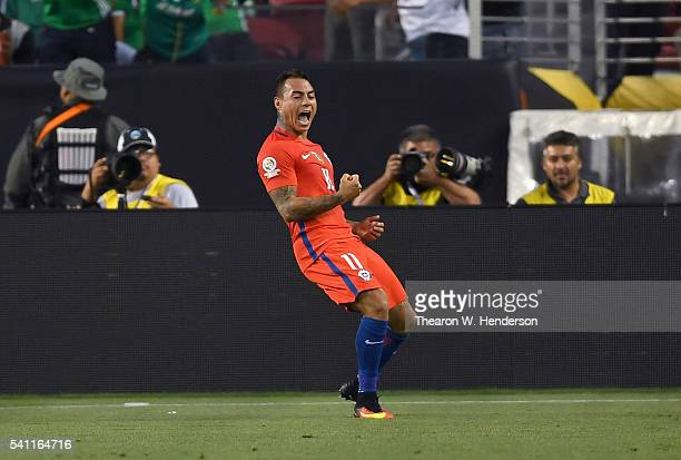 Eduardo Vargas of Chile celebrates after he scored a goal against Mexico during the 2016 Copa America Centenario Quarterfinals match play between...