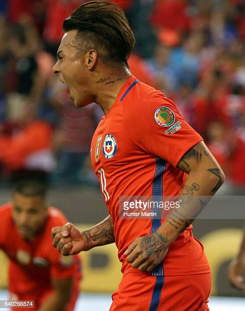 Eduardo Vargas of Chile celebrates after scoring during a group D match between Chile and Panama at Lincoln Financial Field as part of Copa America...