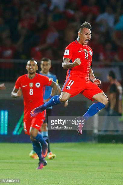 Eduardo Vargas of Chile celebrates after scoring the first goal of his team during a match between Chile and Uruguay as a part of FIFA 2018 World Cup...