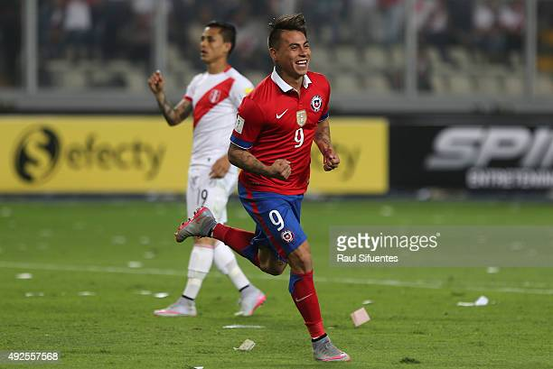 Eduardo Vargas of Chile celebrates after scoring the fourth goal of his team against Peru during a match between Peru and Chile as part of FIFA 2018...