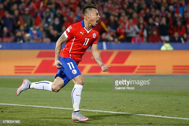 Eduardo Vargas of Chile celebrates after scoring the opening goal during the 2015 Copa America Chile Semi Final match between Chile and Peru at...