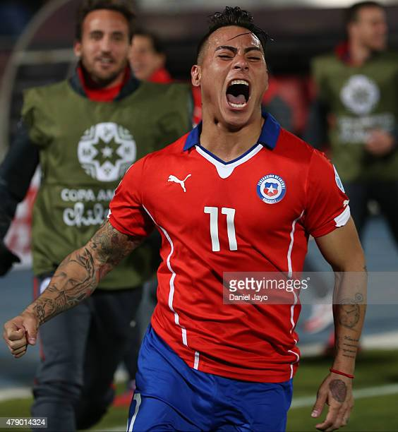 Eduardo Vargas of Chile celebrates after scoring the second goal of his team during the 2015 Copa America Chile Semi Final match between Chile and...