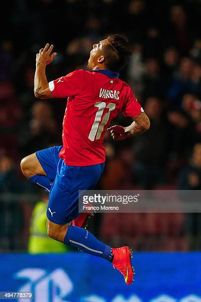 Eduardo Vargas of Chile celebrates after scoring the third goal of his team during the international friendly match between Chile and Egypt at...