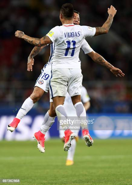 Eduardo Vargas of Chile celebrates scoring his sides secon goal with Leonardo Valencia of Chile during the FIFA Confederations Cup Russia 2017 Group...