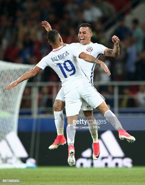 Eduardo Vargas of Chile celebrates scoring his sides second goal with Leonardo Valencia of Chile during the FIFA Confederations Cup Russia 2017 Group...