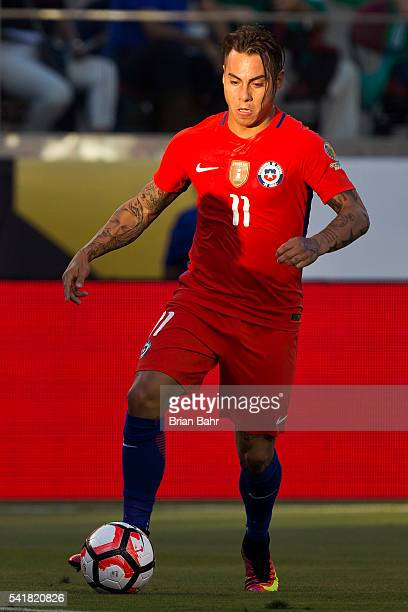 Eduardo Vargas of Chile drives the ball during a Quarterfinal match between Mexico and Chile at Levi's Stadium as part of Copa America Centenario US...